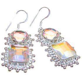 Large Madagascar Fire Quartz Sterling Silver Earrings