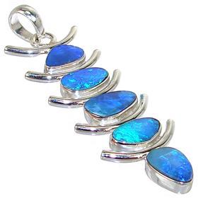 Large Rare Sparkle Opal Sterling Silver Pendant