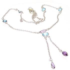 Marvelous Blue Topaz Sterling Silver Necklace 16 1/2 inches long