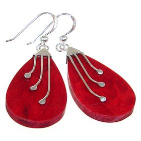 Large Red Coral Sterling Silver Gemstone Earrings