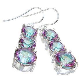 Large Mystic Topaz Sterling Silver Earrings