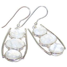 Chunky Rainbow Moonstone Sterling Silver Earrings
