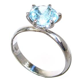 Blue Topaz Sterling Silver Ring size R 1/2