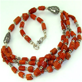 Red Coral  925 Silver Necklace 15""