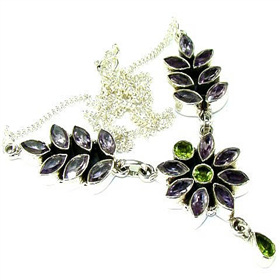 """Amethyst, Peridot Sterling Silver Necklace 16"""". Silver Gemstone Necklace."""