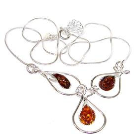 Polish Baltic Amber Sterling Silver Necklace 18 inches long