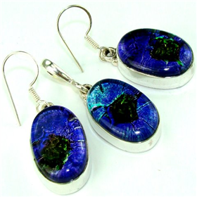 Dichroic Glass  925 Silver Set