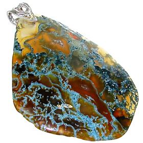 Chunky Moss Agate Sterling Silver Pendant