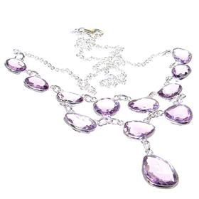 Marvelous Royal Amethyst Sterling Silver Necklace 21 inches long