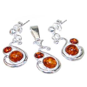 Polish Baltic Amber Sterling Silver Set