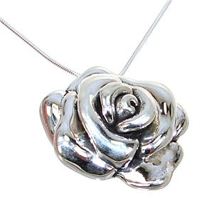 Elegant Rose Sterling Silver Necklace lenght 18 inches