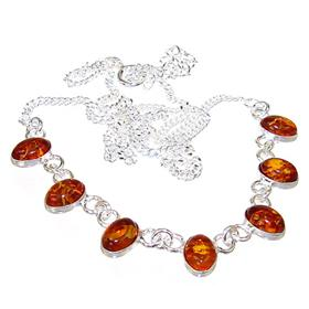 Polish Baltic Amber Sterling Silver Necklace 19 inches