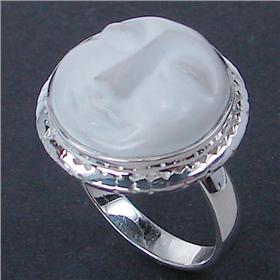 Carved Face Sterling Silver Ring size P 1/2