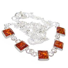 Polish Baltic Amber Sterling Silver Necklace 17 inches