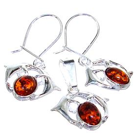 Dolphin Polish Baltic Amber Sterling Silver Set
