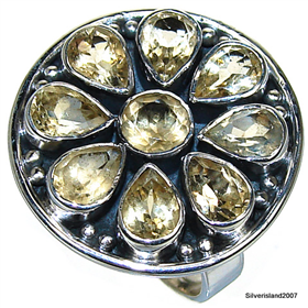 Sunny Citrine Sterling Silver Ring. Silver Gemstone Ring.