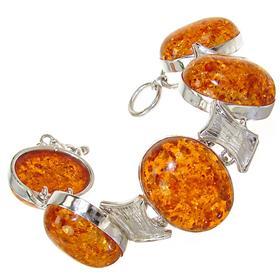 Large Created Honey Amber Sterling Silver Bracelet
