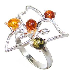 Polish Baltic Amber Sterling Silver Gemstone Ring size L