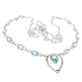 Marvelous Blue Topaz Sterling Silver Necklace 23 inches long