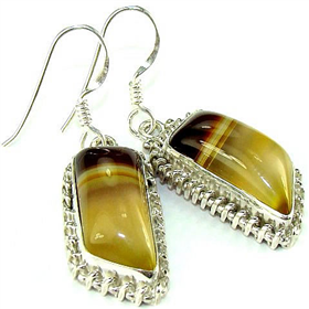 Botswana Agate Sterling Silver Earrings. Silver Gemstone Earrings.