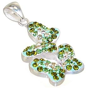 Green Butterfly Crystal Sterling Silver Pendant