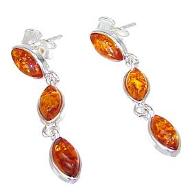 Polish Baltic Amber Sterling Silver Earrings