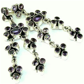 Amethyst Sterling Silver Earrings. Silver Gemstone Earrings.