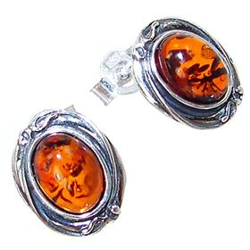 Polish Baltic Amber Sterling Silver Earrings Studs
