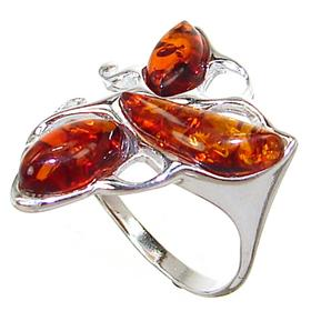 Polish Baltic Amber Sterling Silver Ring size P