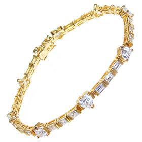 White Quartz Sterling Silver Golden Plated Bracelet