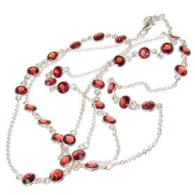 Elegant Garnet Sterling Silver Necklace 30 inches long
