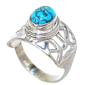 Turquoise Sterling Silver Gemstone Ring size M 1/2