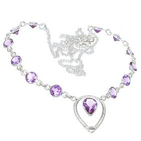 Royal Amethyst Sterling Silver Necklace 22 inches long