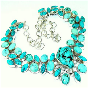 Huge Turquoise Sterling Silver Necklace