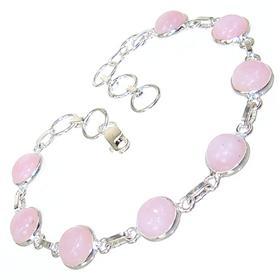 Pink Opal Sterling Silver Bracelet