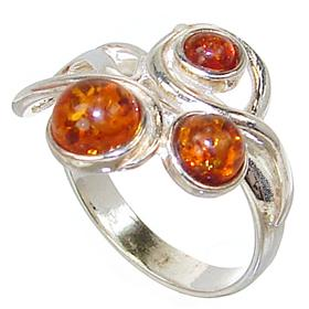 Honey Amber Sterling Silver Gemstone Ring size P