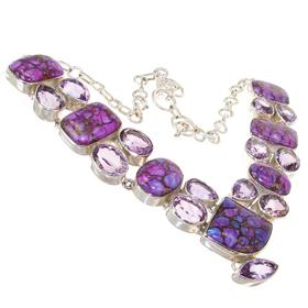 Chunky Royal Amethyst Sterling Silver Necklace 15 inches long
