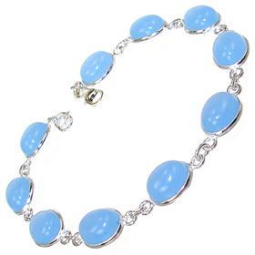 Chalcedony Agate Sterling Silver Bracelet