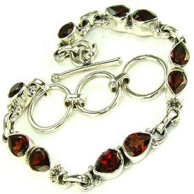 Garnet Sterling Silver Bracelet. Silver Gemstone Bracelets.
