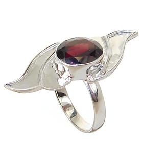 Fancy Garnet Sterling Silver Ring Size P