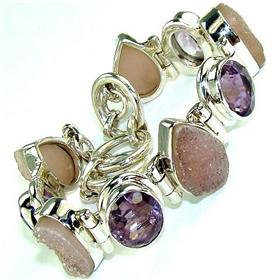 Amethyst, Druzy  925 Silver Bracelet Jewellery