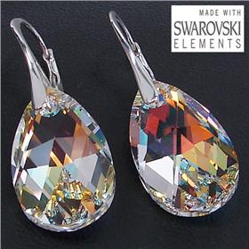 Swarovski Fire Crystal Sterling Silver Earrings