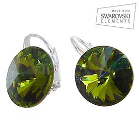 Swarovski Olive Green Sterling Silver Earrings