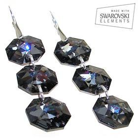 Large Swarovski Silver Night Sterling Silver Earrings