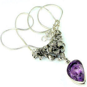 Genuine Purple Amethyst  925 Silver Necklace