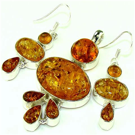 Finest Quality Amber  925 Silver Set  Jewellery