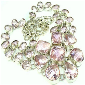 Incredible Pink Quartz  925 Silver Necklace 20""