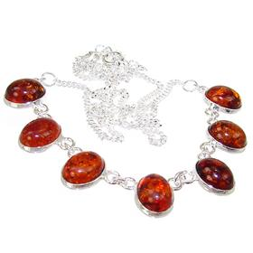 Polish Baltic Amber Sterling Silver Necklace 18 inches