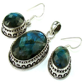 Massive Finest Quality Fire Labradorite  925 Silver Set Jewellery