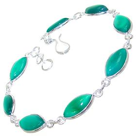 Green Botswana Agate Sterling Silver Bracelet
